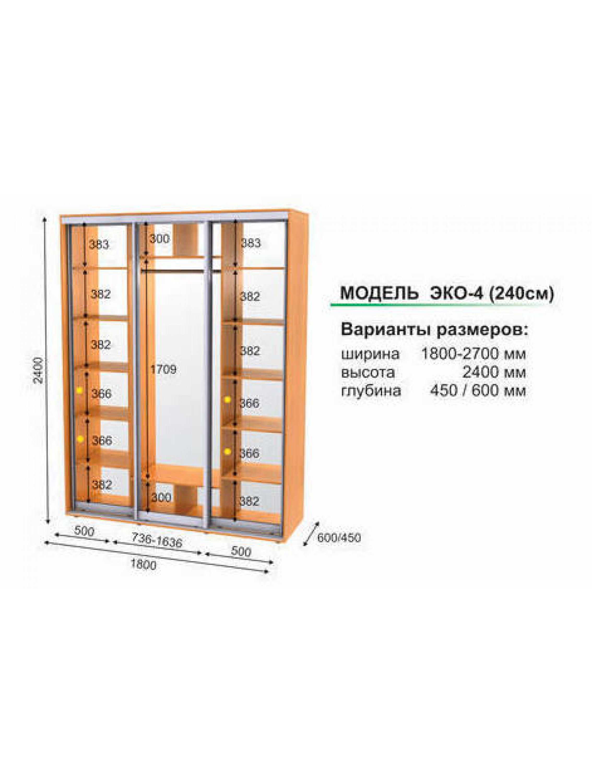 Шкаф-купе 3-х дверный, ширина от 1800 мм до 2700 мм, высота 2400 мм., глубина 450/600 мм