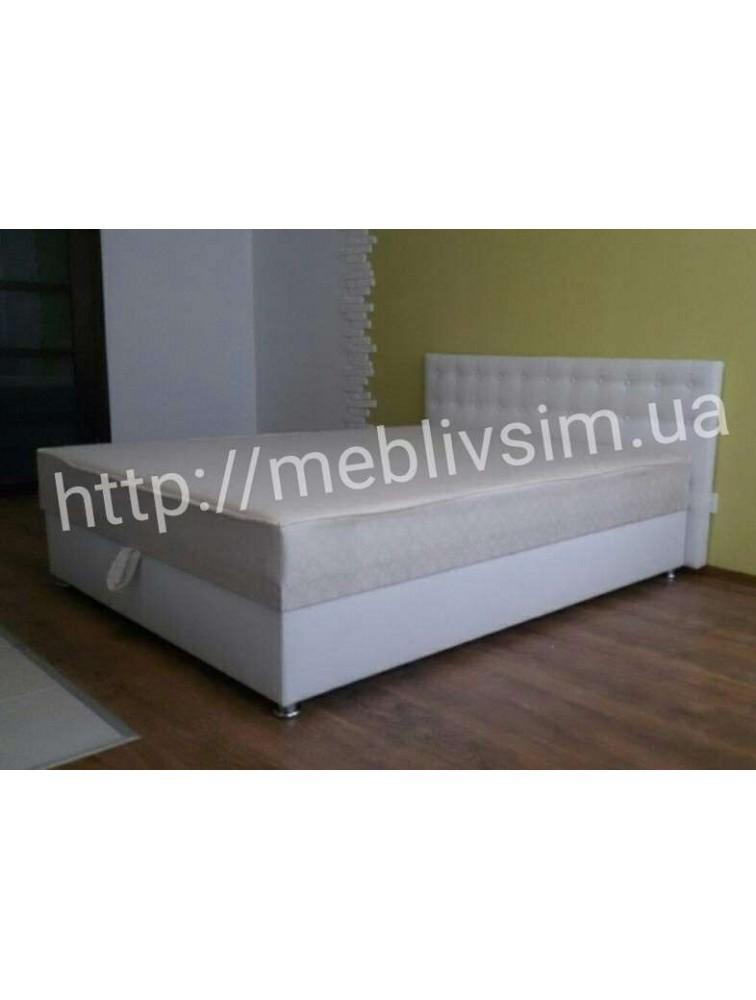Кровать Камила в белом кожзаме